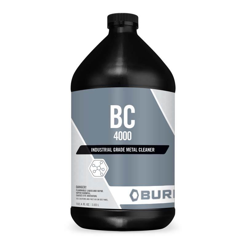 Industrial General Purpose Metal Cleaner BC-4000. A general purpose alkaline metal cleaner degreaser that is vastly superior to solvents when prepping metal for painting. It is very economical as it this 9 parts water to 1 part cleaner for most metal cleaning applications. It is biodegradable and acts by emulsifying any grease and oil on the metal surface. Just spray or wipe it on and wash off with clean water or wipe off with clean, lint-free rags. BC 4000 is safe for use on all metals.