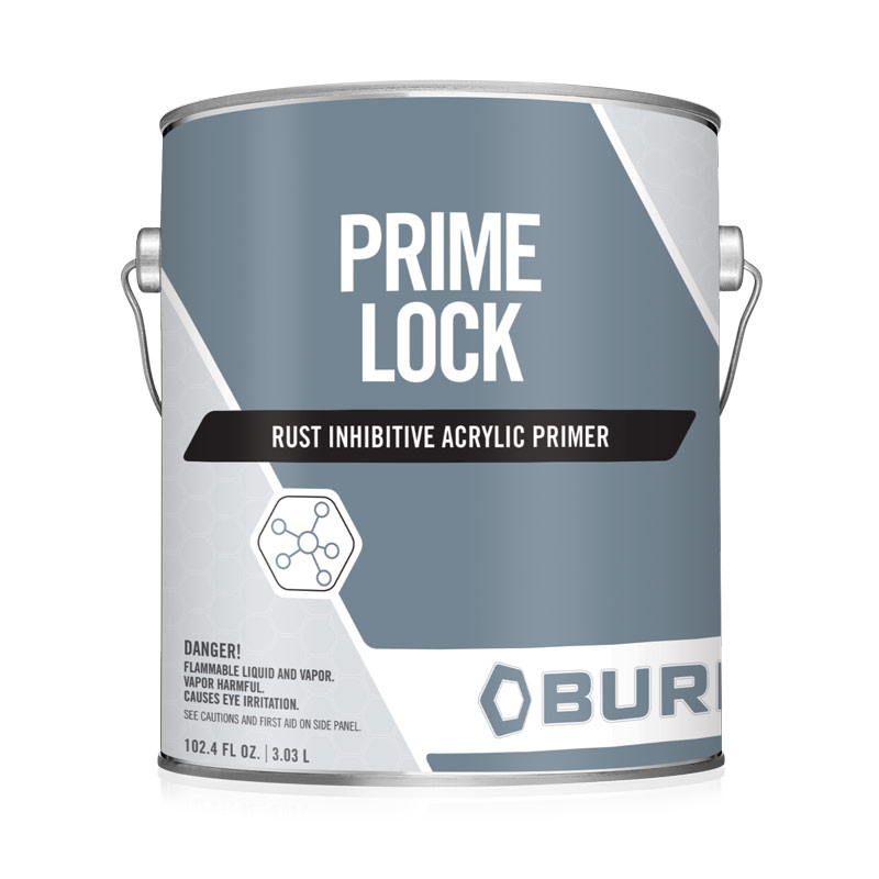 Corrosion Resistant Single Component Metal Primer PrimeLock™ 7169. PrimLock7169 is a water-based, low VOC, single component, rust inhibitive acrylic primer. With a gray finish, this metal primer renders excellent water-resistance and corrosion-resistance for most metal surfaces.
