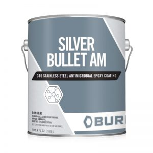 Gloss Stainless Steel Antimicrobial Epoxy Paint Resist 650 Strains-of-Bacteria Silver Bullet AM 316™