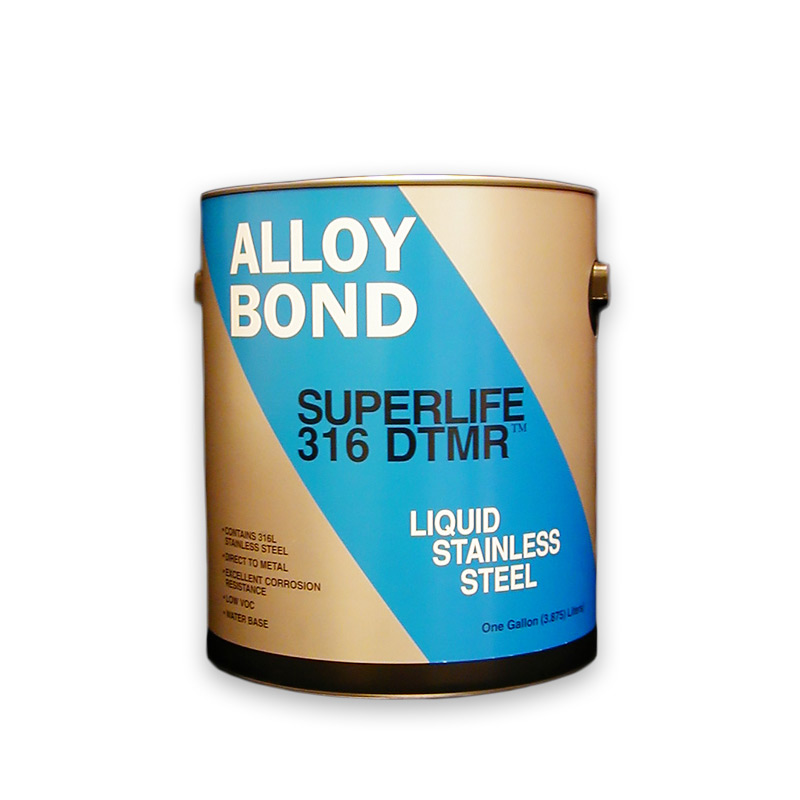 Stainless Steel Paint for Galvanized Steel, Tin, Aluminum and Concrete Superlife-316, SuperLife-316™ is a low VOC USDA accepted gray paint with 316 stainless steel additive for most metals includinggalvanized steel, tin, aluminum and even concrete. SupeLife 316 also has the ability to adhere to metal surfaces where slight oil and grease contaminationis present.